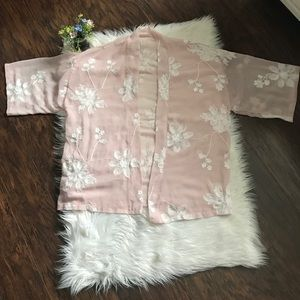 Dusty Pink Sheer White Embroidered Floral Kimono